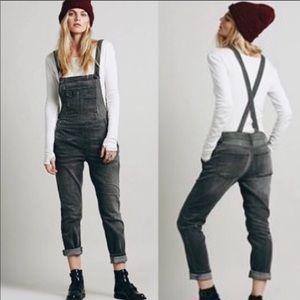 Free People Distressed Denim Overalls Grey Black